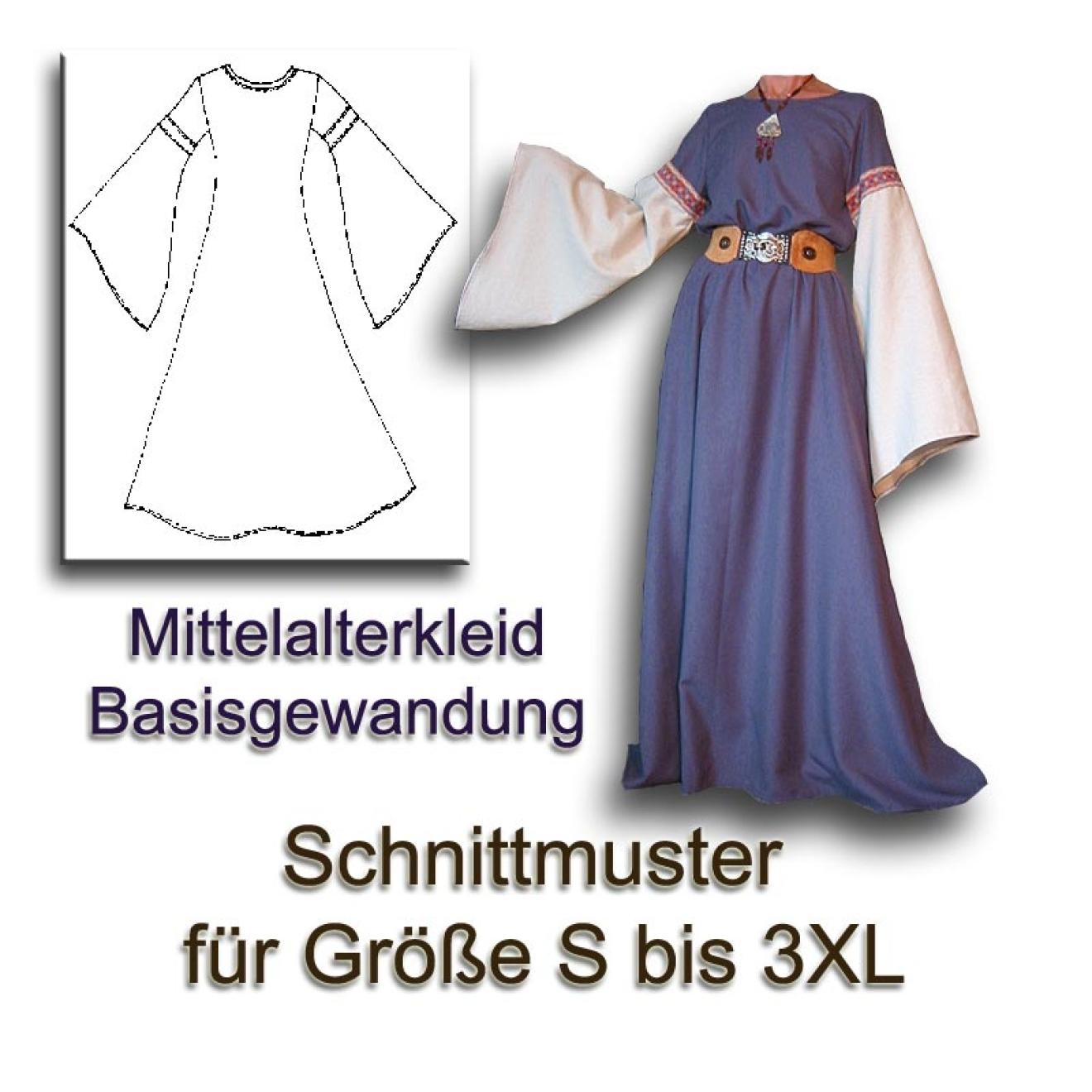 Schnittmuster Mittelalter-Gewandung DIY Kleid 34-56