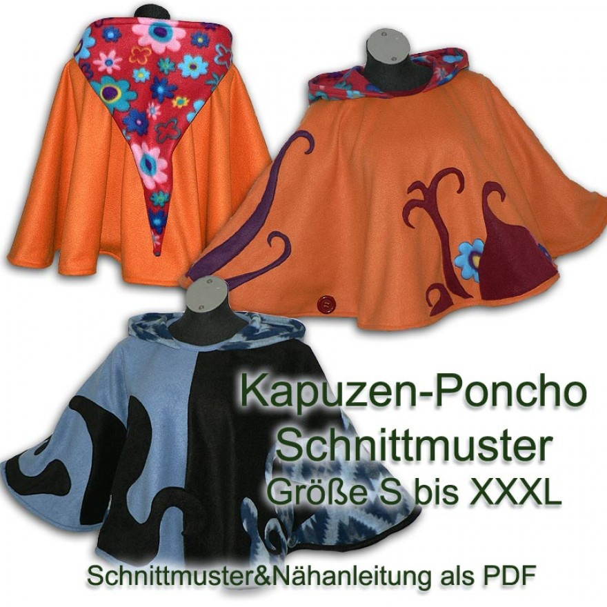 Schnittmuster e-book Poncho mit Zipfelkapuze