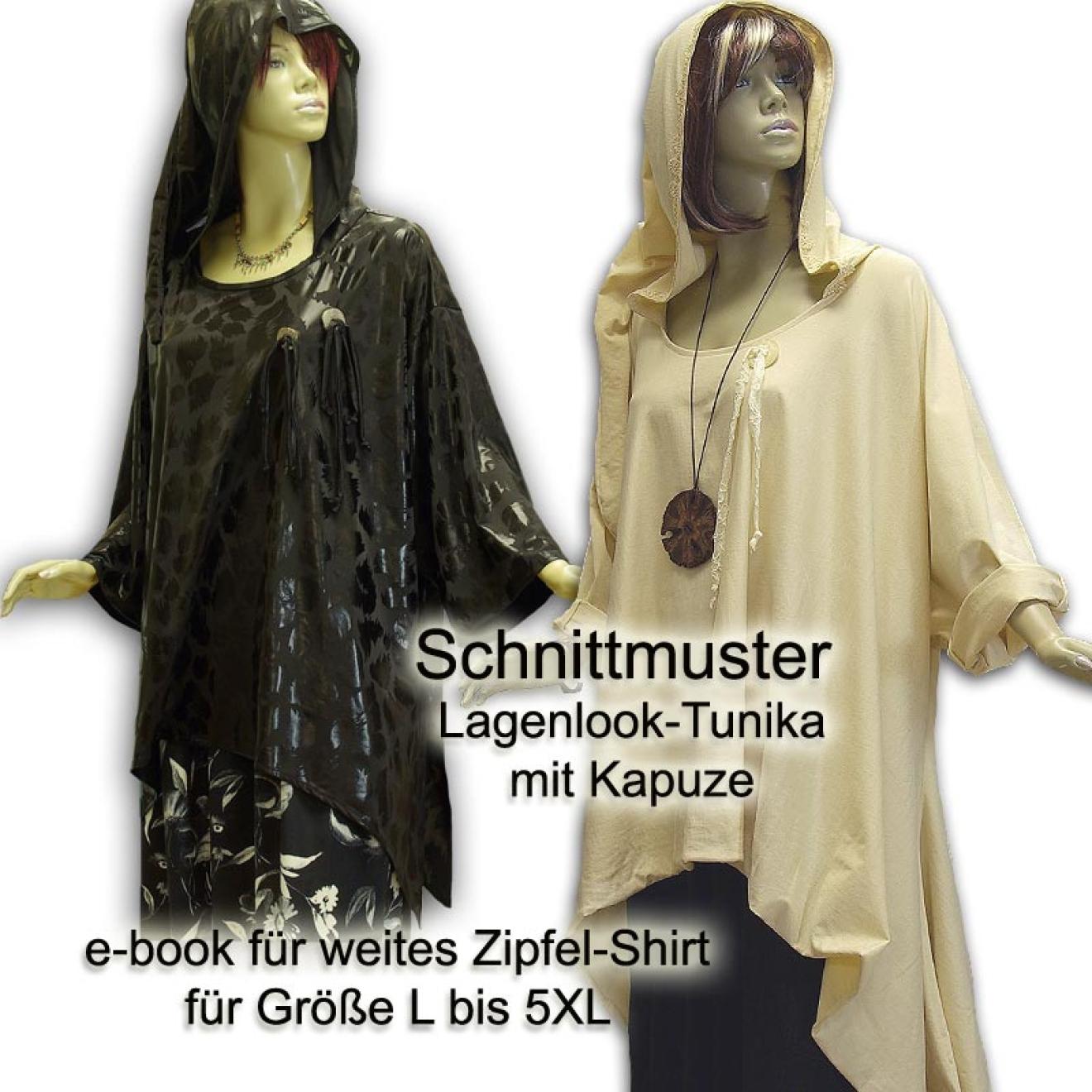 Schnittmuster e-book Lagenlook Zipfel-Shirt Hoody