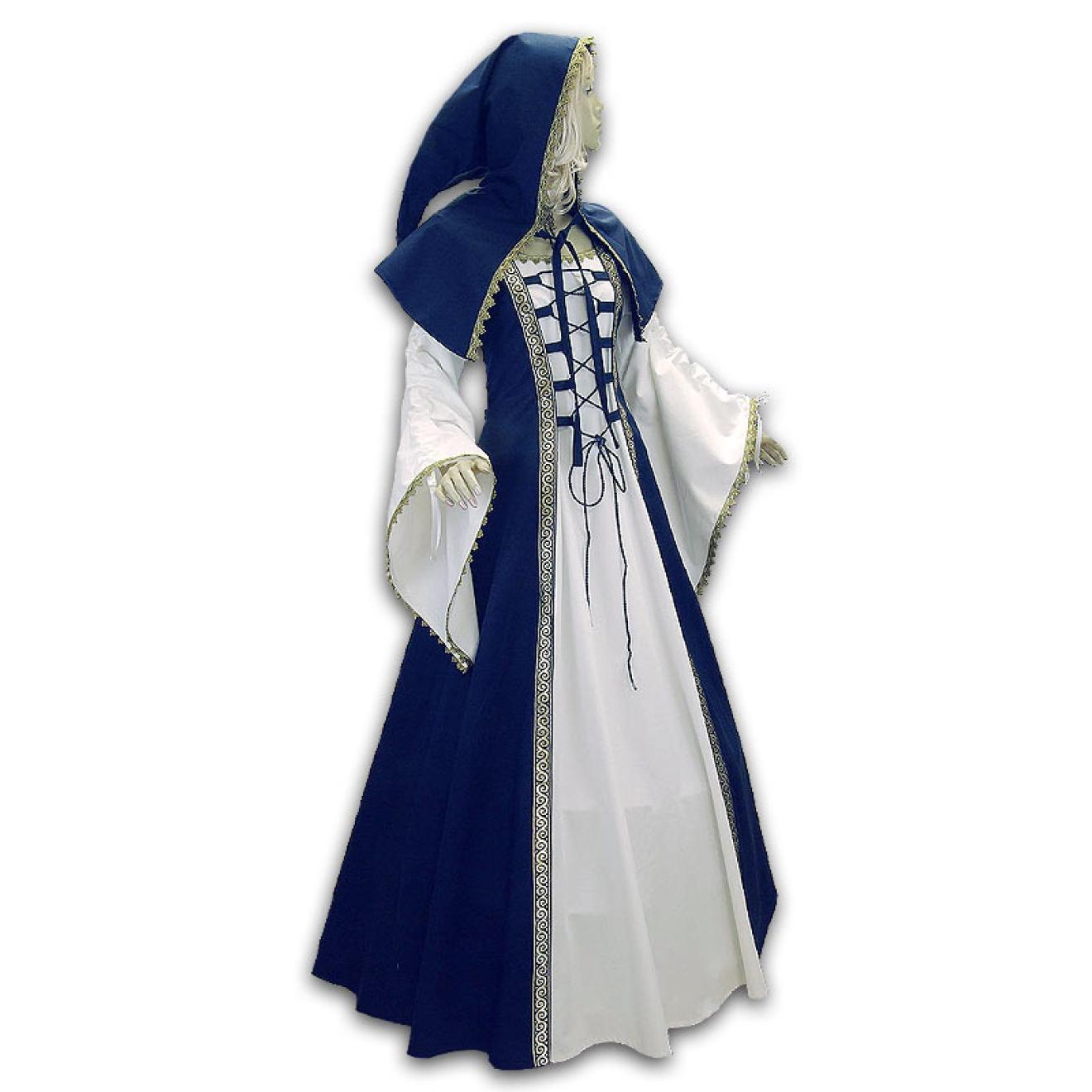 Mittelalter Hochzeitskleid maßangefertigt bis Übergröße mit Gugel ...