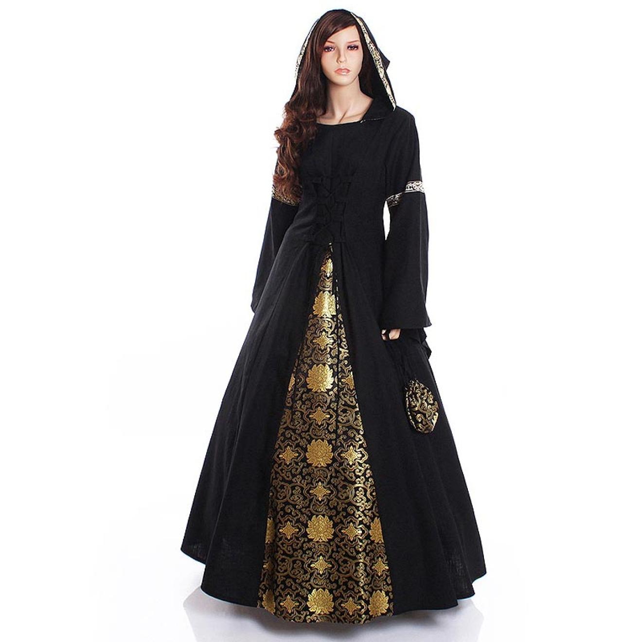 Mystisches Gothic-Kleid mit Kapuze