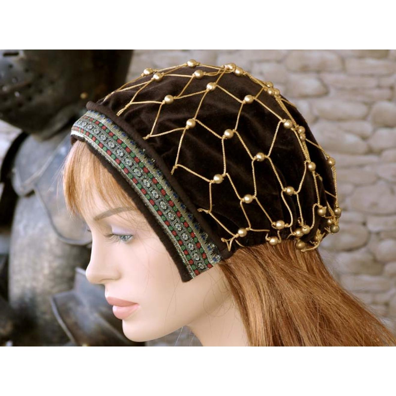 Discounter unverwechselbares Design Auschecken Mittelalterkopfbedeckung - Haube braun - mit Perlen