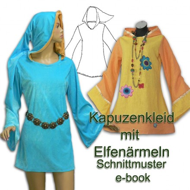 Schnittmuster e-book Elfenkleid mit Kapuze 36 bis 52
