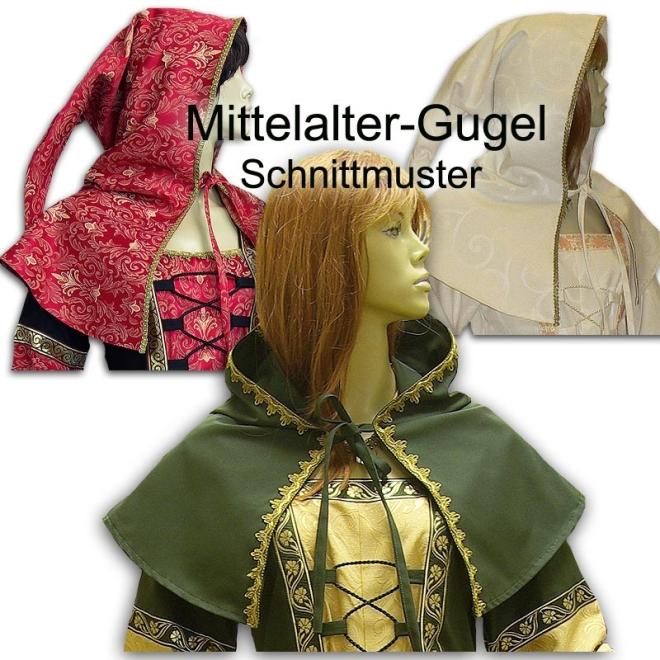 Schnittmuster für mittelalterliche Gugel in zwei Größen