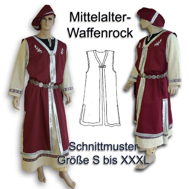 Schnittmuster für Mittelalter-Waffenrock und Barett