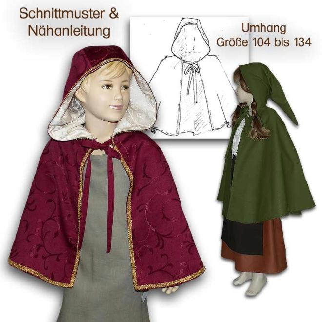 Schnittmuster für Mittelalter-Umhang für Kinder
