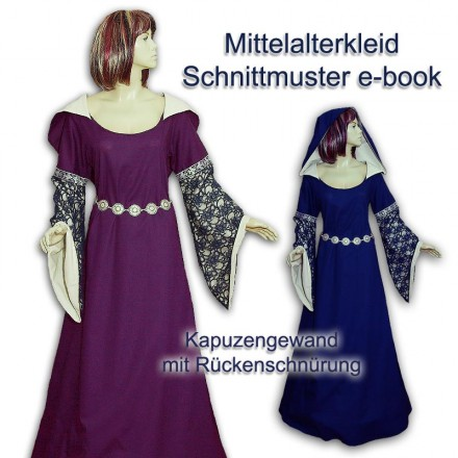 Schnittmuster Mittelalter-Gewandung Kapuzenkleid 34-56