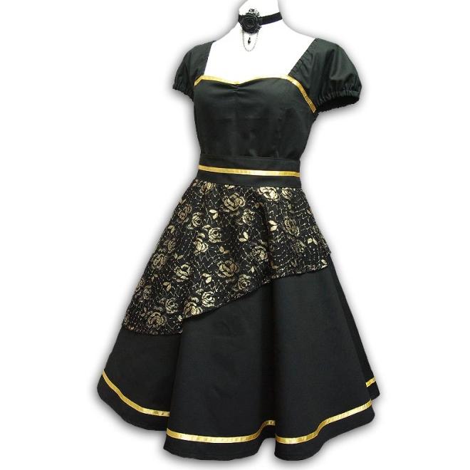 Rockabilly Kleid Gothic Tellerrockkleid M/L